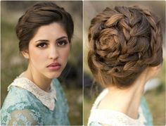 7 Glamorous Hairstyles for Bridesmaids 2013  flower shaped braided updo for wedding with cheap hair extension