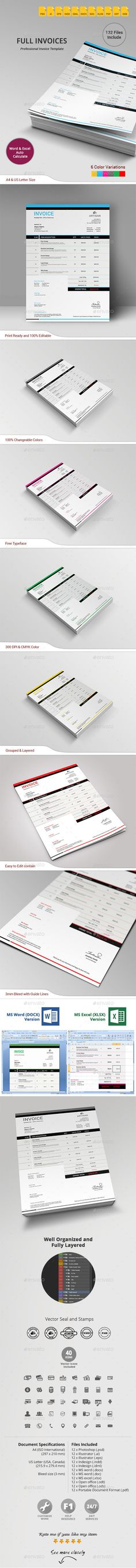 #Invoice - #Proposals & Invoices #Stationery Download here: https://graphicriver.net/item/invoice/9900319?ref=alena994