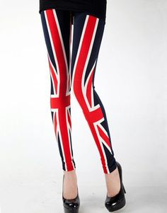 England Union Jack Flag Print Stretch Pants Tights Leggings Navy Blue #leggings # tights www.loveitsomuch.com