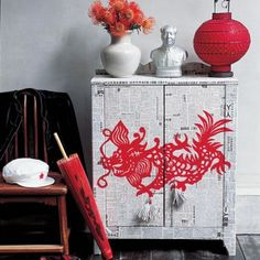 diy dresser makeover idea red orient dragon newspaper decoupage mod podge before after striped easy ? Asian Inspired Decor, Asian Home Decor, Diy Home Decor, Asian Furniture, Chinese Furniture, Painted Furniture, Furniture Design, Decoupage Furniture, Decoupage Ideas