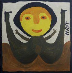 Der Afroamerikaner Mose Tolliver, 1924 (?)-2006, aus Alabama, begann nach einem schweren Unfall, der seine Beine zertrümmerte und ihn für den Rest seines Lebens arbeitsunfähig machte, als Autodidakt an zu malen. Er blieb zeitlebens behindert. seine Selbstbildnisse zeigen ihn mit Krücken