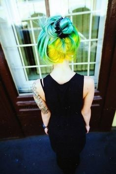 I would do this but the neon green blond would have to be like, pure blond