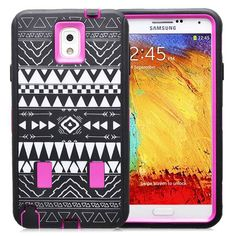 SAMSUNG GALAXY NOTE 3 CASE, SHOCKPROOF DIRT PROOF HYBRID ARMOR COVER (TRIBAL PINK) | #cellphonegadgets #mobileaccessories www.kuteckusa.com