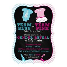 Team Pink or Blue Gender Reveal Invitation These adorable pink and blue chevron invitations featuring tutus and ties are perfect for a gender reveal party! Matching items available in our shop. Personalized Birthday Invitations, Gender Reveal Party Invitations, Custom Invitations, Chevron Invitations, Etsy Gender Reveal, Chevron Rosa, Blue Chevron, Invitation App, Silvester Party