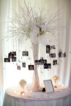 Cute way to display photos at wedding