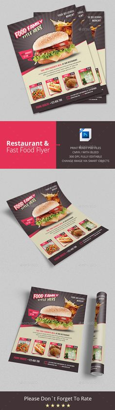 Restaurant & Fast Food Flyer - Restaurant Flyers ideal for super market flyer and grocery market flyers. Great template for restaurant ads as well.