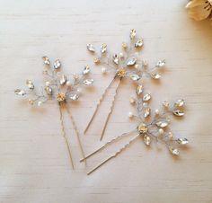 Set of 3, Rhinestone Hair pins, Gold hair Pins, Wedding Hair pins, Pearl Headpiece, Rose Gold Hairpins, Bridal Hairpiece, Crystal Headpiece