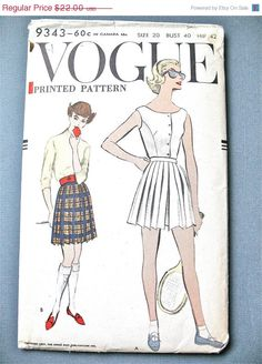 ON SALE until June 15th Uncut 50s Vogue 9343 blouse and pleated shorts tennis outfit Vintage Sewing Pattern 1950s Bust 30 inches by Fancywork on Etsy https://www.etsy.com/listing/213158257/on-sale-until-june-15th-uncut-50s-vogue