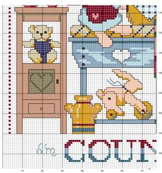 Cross-stitch Cluttered - Country, part 2 ... no color chart available, just use pattern chart as your color guide.. or choose your own colors...   Schema punto croce Quadro Country 2