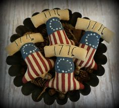 Your place to buy and sell all things handmade Fourth Of July, 4th Of July Wreath, Liberty, Primitive Ornaments, Americana Home Decor, July Holidays, Bowl Fillers, Jingle Bells, Seasonal Decor