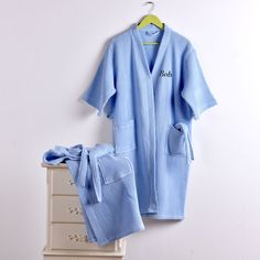 Knee Length Waffle Women Spa Bath Robe Length for 105cm Option to  Personalize  ea21ce3a7