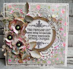 piabau: Kort med hj. lavede blomster