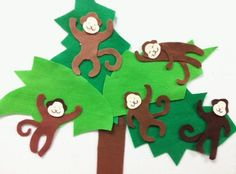 Can't resist a tree full of monkeys! I made these felt sets for my recent ABC Baby Storytime. First I made a Chicka Chicka Tree, with different shaped coconuts: You could make a dozen of each shape...