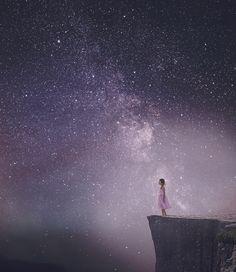 Little girl, big world - Little girl sky composite