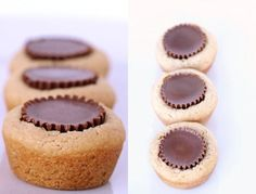 Peanut Butter cookies with Peanut Butter Cups!--looks like cupcakes to me! Köstliche Desserts, Delicious Desserts, Dessert Recipes, Yummy Food, Pudding Recipes, Party Recipes, Plated Desserts, Reese Cup Cookies, Cookie Cups