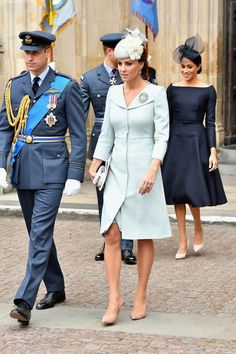 Meghan Markle Photos - Catherine, Duchess of Cambridge (C), Prince William, Duke of Cambridge (L) and Meghan, Duchess of Sussex (R) attend as members of the Royal Family attend events to mark the centenary of the RAF on July 10, 2018 in London, England. - Members Of The Royal Family Attend Events To Mark The Centenary Of The RAF