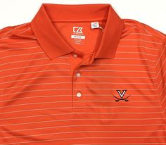 Cutter & Buck Virginia Cavaliers Large DryTec Stripe Polo Shirt UVA Orange SS #CutterBuck #PoloRugby