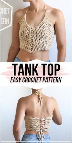 crochet tank tops Easy Crochet Tank Top Pattern - easy crochet top pattern for beginners Crochet Halter Tops, Crochet Summer Tops, Crochet Crop Top, Knitted Tank Top, Crochet Top Outfit, Crochet Outfits, Crochet Scarves, Crochet Clothes, Artisanats Denim