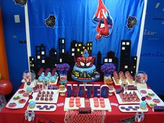 Dessert table at a Spiderman birthday party! See more party planning ideas at CatchMyParty.com!
