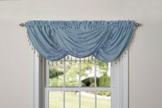 HLC.ME Claire Textured Heavyweight Rod-Pocket Window Treatment Curtain Valance (Blue)