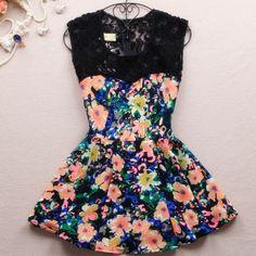 $32.00 | Printed sleeveless lace dress