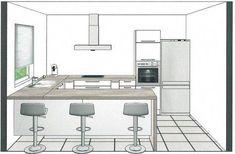 Kitchen design, kitchen layout, home decor kitchen, home kitchens, coffee b Open Plan Kitchen Living Room, Kitchen Room Design, Kitchen Sets, Home Decor Kitchen, Home Kitchens, Kitchen Layout Plans, Küchen Design, Kitchen Remodel, New York