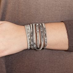 Chan Luu - Crystal CAL and Nugget Wrap Bracelet on Grey Leather, $295.00 (http://www.chanluu.com/wrap-bracelets/crystal-cal-and-nugget-wrap-bracelet-on-grey-leather/)