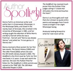 This week's #AuthorSpotlight: #DonnaTartt who won the #PulitzerPrize for fiction for her novel, #TheGoldfinch.