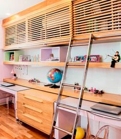 Children's room above storage. Instead of solid doors slatted ones allow for architectural interest and also allow air circulation.