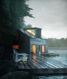 Lake House by Rodrigo Mila   Architecture   3D   CGSociety - Liking the big sunroof/bay-window-ish part
