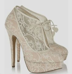 Gorgeous high heel wedding lace shoes fashion