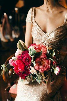 Glamorous Wedding Bouquet Comprised Of: Coral Tree Peonies, Hot Pink Tree Peonies, Scarlet Garden Roses, Fuchsia Ranunculus, Several Varieties Of Greenery & Foliage>>>>