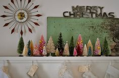 Retro/Vintage Christmas Mantle with Bottle Brush Trees Primitive Christmas, Christmas Mantels, Noel Christmas, Merry Little Christmas, Modern Christmas, Simple Christmas, Winter Christmas, Vintage Christmas, Christmas Crafts