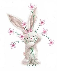 Flowers and a Bunny Bunny Art, Cute Bunny, Cute Drawings, Animal Drawings, Easter Drawings, Cute Images, Cute Pictures, Have A Nice Afternoon, Comic Anime