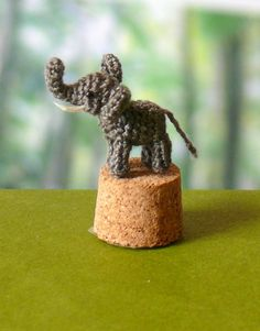 Miniature amigurumi elephant. Comes with FREE display box