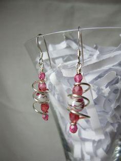 Pink Swirly Earrings by ktm1353 on Etsy