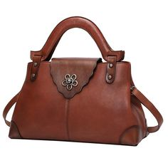 Brown Vintage Leather Satchel Handbag Bag Purse – iLeatherhandbag   designersatchelhandbags f14ea9c470040