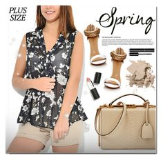 """""""Spring Date: Pretty Plus-Size Style"""" by chubbycinth ❤ liked on Polyvore featuring Mark Cross, Bobbi Brown Cosmetics, Sigma Beauty and Chanel"""