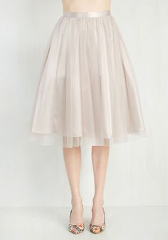 Pointe of View Skirt in Latte. Express yourself with graceful flair in this whimsical tan skirt. #brown #modcloth