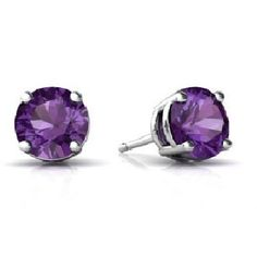 14Kt White Gold Amethyst Round Stud Earrings by ElizabethJewelryInc on Etsy