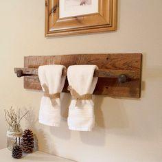 Rustic Wood Towel Rack - Large, reclaimed barn wood towel hanger with railroad spikes