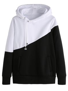 Newly Two-Color Block Women Casual Hoodie Sweatshirt Streetwear Woman Hooded Sweatshirts Outfit Tops 81211 BK XXL Black And White Shirt, White Hoodie, White Shirts, Pink Black, Color Black, Outfits Damen, Sports Hoodies, Hooded Sweatshirts, Clothes