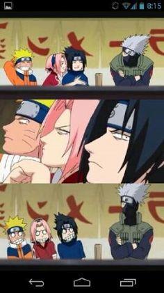Team 7, Kakashi, Sasuke, Naruto, Sakura, funny, mask, comic; Naruto