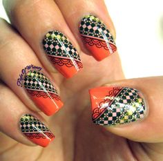 Coral and Lace #flightofwhimsy #red #dotted #mani #polish #nailart - bellashoot.com