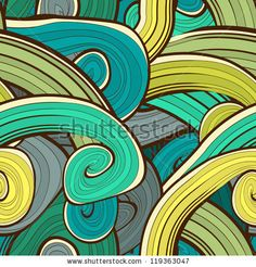 Seamless abstract hand drawn waves pattern. Wavy background. Ocean background. Background design in green, aqua, blue colors. Vintage design. Seamless floral  pattern can be used for web, wallpaper by Alextanya, via ShutterStock. Stock VECTOR available for sale at shutterstock.  (c)AlexTanya.