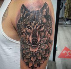 Wolf should sleeve arm tattoo