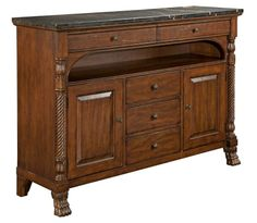 ARTISANS SHOPPE ACCENTS LINDEN CREDENZA WITH FIVE DRAWERS BY KINCAID FURNITURE