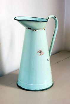 Vintage aqua enamelware pitcher