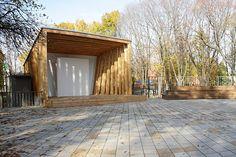 архитектурное бюро Практика - сцена в Перово Outdoor Stage, Outdoor Decor, Architecture Concept Diagram, Landscape Elements, Pavilion, Playground, Terrace, Gazebo, Villa