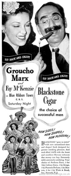 """""""New sizes! New shapes! New pleasure!""""  These ads for Blackstone Cigars date from 1944-45. Each ad featured an actor and actress from a current movie or TV show, with the chaps all enjoying a cigar whilst the women smiled on from the side."""